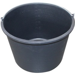 Black polythylene bucket with handle